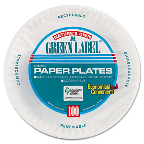 AJM Packaging Corporation Paper Plates  9  Diameter  White  100 Pack  12 Packs Carton (AJMPP9GRAWH)