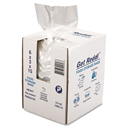 Inteplast Group Get Reddi Food & Poly Bag, 6 x 3 x 15, 3.5qt, 1.0mil, Clear, 1000/Carton (IBS PB060315H)