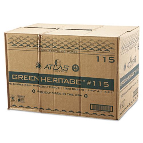 Atlas Paper Mills Green Heritage Toilet Tissue, 3 1/10 x 4 1/10 Sheets, 1Ply, 1000/RL, 96 Rolls/CT (APM115GREEN)