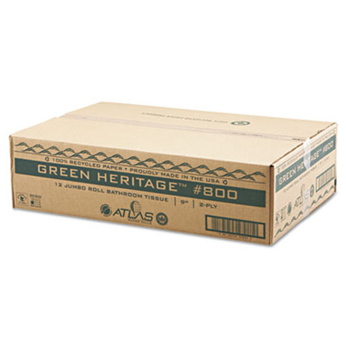 "Atlas Paper Mills Green Heritage Jumbo Junior Roll Toilet Tissue, 2-Ply, 9""dia, 12/Carton (APM800GREEN)"