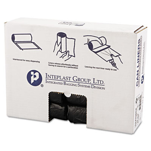 Inteplast Group High-Density Can Liner, 24 x 33, 16gal, 6mic, Black, 50/Roll, 20 Rolls/Carton (IBS S243306K)