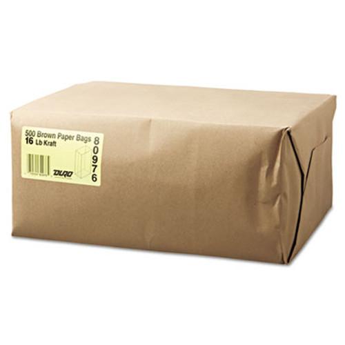 General #16 Paper Grocery Bag, 40lb Kraft, Standard 7 3/4 x 4 13/16 x 16, 500 bags (BAG GK16-500)