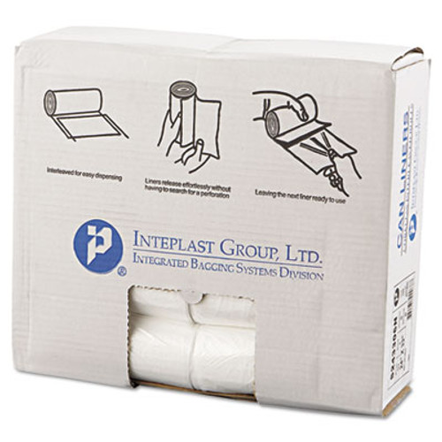 Inteplast Group High-Density Can Liner, 24 x 33, 16gal, 6mic, Clear, 50/Roll, 20 Rolls/Carton (IBS S243306N)