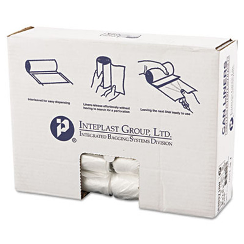 Inteplast Group High-Density Interleaved Commercial Can Liners  30 gal  10 microns  30  x 37   Clear  500 Carton (IBS S303710N)