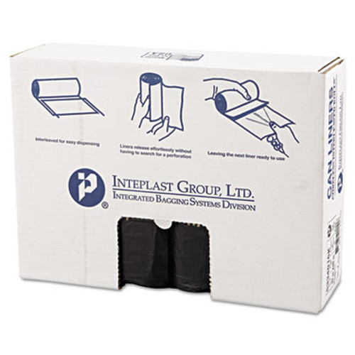 Inteplast Group High-Density Can Liner, 33 x 40, 33gal, 16mic, Black, 25/Roll, 10 Rolls/Carton (IBS S334016K)