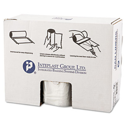 Inteplast Group High-Density Can Liner, 38 x 60, 60gal, 22mic, Clear, 25/Roll, 6 Rolls/Carton (IBSS386022N)