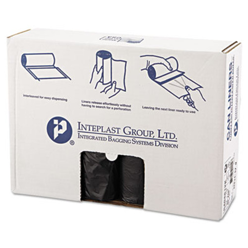 Inteplast Group High-Density Interleaved Commercial Can Liners  45 gal  12 microns  40  x 48   Black  250 Carton (IBS S404812K)