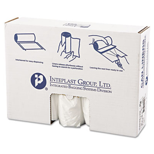 Inteplast Group High-Density Interleaved Commercial Can Liners  45 gal  12 microns  40  x 48   Clear  250 Carton (IBS S404812N)