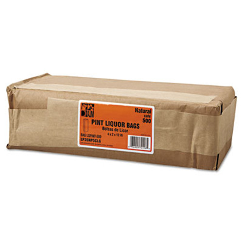 General Grocery Pint-Sized Paper Bags for Liquor Takeout  35 lbs Capacity  Pint  3 75 w x 2 25 d x 11 25 h  Kraft  500 Bags (BAG LQPINT-500)