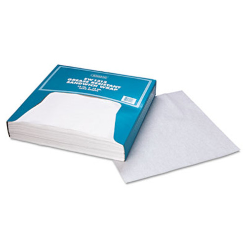 Bagcraft Grease-Resistant Paper Wraps and Liners  12 x 12  White  1000 Box  5 Boxes Carton (BGC 057012)