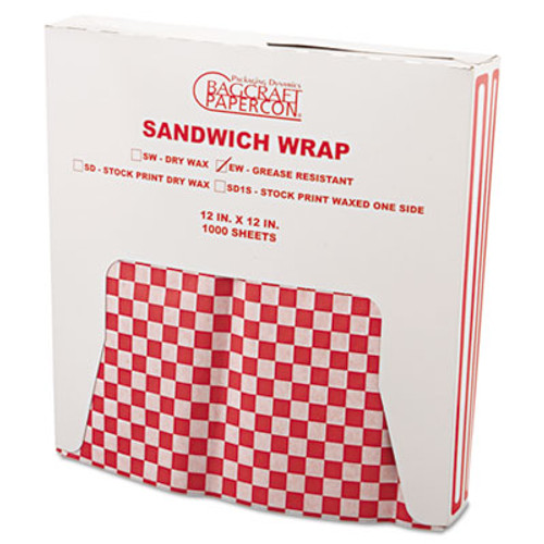 Bagcraft Grease-Resistant Paper Wraps and Liners  12 x 12  Red Check  1000 Box  5 Boxes Carton (BGC 057700)