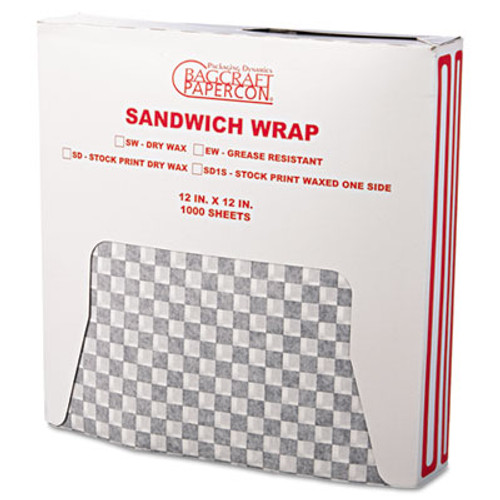 Bagcraft Grease-Resistant Paper Wraps and Liners  12 x 12  Black Check  1000 Box  5 Boxes Carton (BGC 057800)