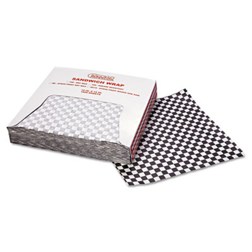 Bagcraft Grease-Resistant Wrap/Liners, 12 x 12, Black Checker, 1000/Box, 5 Boxes/Carton (BGC 057800)