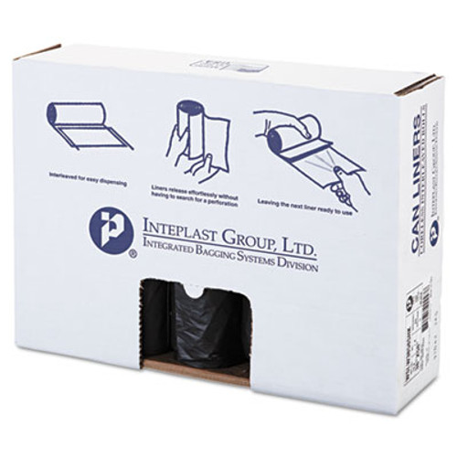 Inteplast Group Low-Density Can Liner, 38 x 58, 60gal, 1.4mil, Black, 20/Roll, 5 Rolls/Carton (IBS SLW3858SHK)