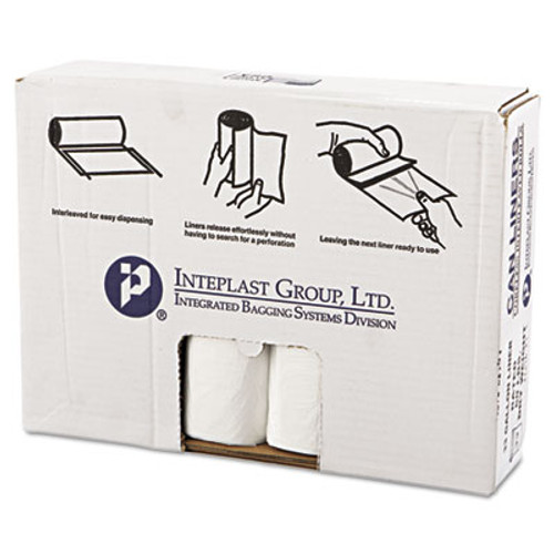 Inteplast Group High-Density Can Liner, 33 x 39, 33gal, 16mic, Clear, 25/Roll, 10 Rolls/Carton (IBS VALH3340N16)