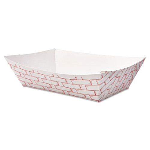 BoardwalkA Paper Food Baskets, 2lb Capacity, Red/White, 1000/Carton (BWK 30LAG200)