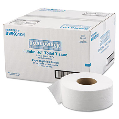 Boardwalk JRT Jr  Bath Tissue  Jumbo  Septic Safe  1-Ply  White  3 1 2  x 2000 ft  12 Carton (BWK 6101)