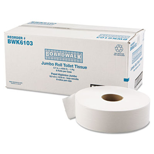 Boardwalk JRT Bath Tissue  Jumbo  Septic Safe  1-Ply  White  3 5 8  x 4000 ft  6 Carton (BWK 6103)
