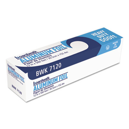 "Boardwalk Heavy-Duty Aluminum Foil Roll, 12"" x 500ft, 20 Micron Thickness, Silver (BWK 7120)"