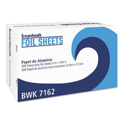 Boardwalk Pop-Up Aluminum Foil Wrap Sheets, 9 x 10 3/4, Silver, 500/Box, 6 Boxes/Carton (BWK 7162)