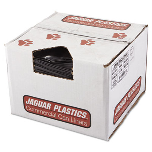 Jaguar Plastics Repro Low-Density Can Liners, 2 Mil, 43 x 47, Black, 100/Carton (JAG R4347HH)