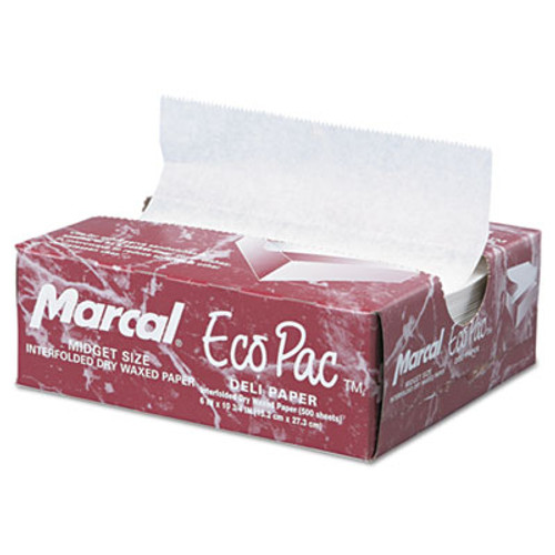 Marcal Eco-Pac Interfolded Dry Wax Paper  6 x 10 3 4  White  500 Pack  12 Packs Carton (MCD 5290)
