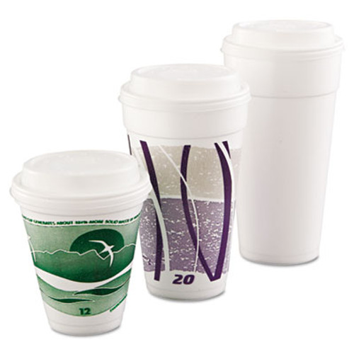 Dart Cappuccino Dome Sipper Lids, Fits 12-24oz Cups, White, 1000/Carton (DCC 16EL)