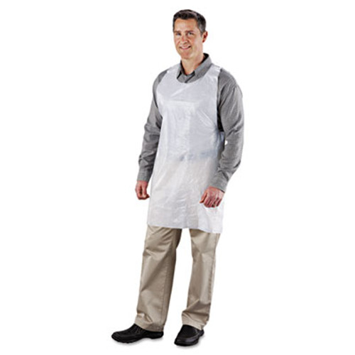AmerCareRoyal Poly Apron  White  24 in  W x 42 in  L  One Size Fits All  1000 Carton (RPP DA2442)