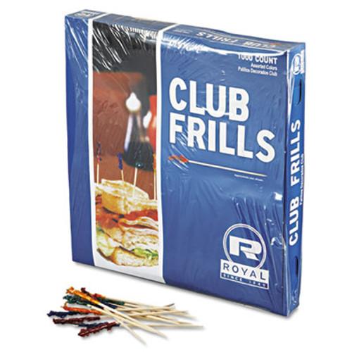 "AmerCareRoyalA Club Cellophane-Frill Wood Picks, 4"", Assorted, 10000/Carton (RPP R812W)"