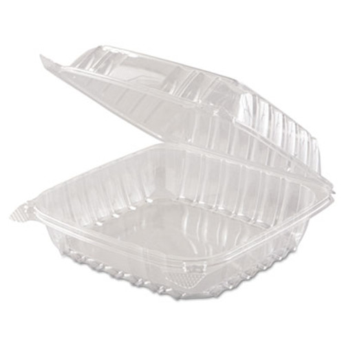 DartA ClearSeal Hinged-Lid Plastic Containers, 8 3/10 x 8 3/10 x 3, Clear, 250/Carton (DCC C90PST1)
