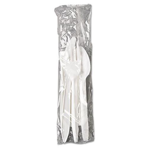 GEN Wrapped Cutlery Kit, Fork/Knife/Spoon/Napkin, White, 250/Carton (GEN 4KITMW)