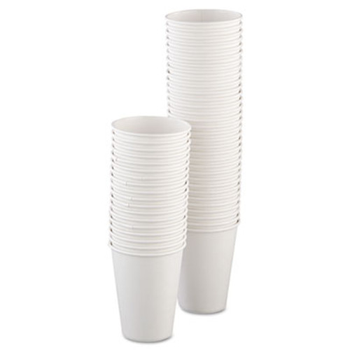 Dart Single-Sided Poly Paper Hot Cups  12oz  White  50 Bag  20 Bags Carton (SCC 412WN)