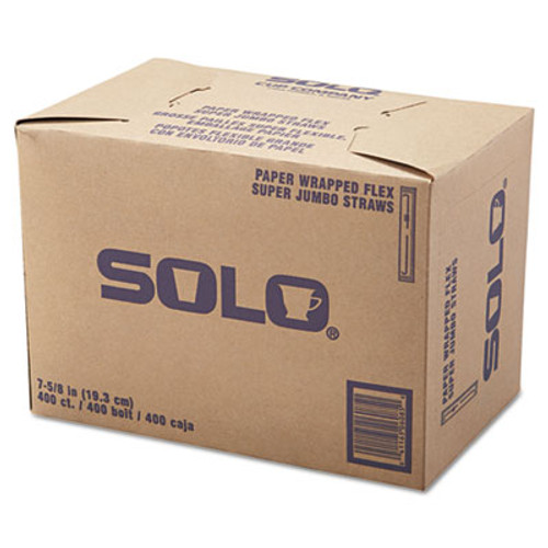 "SOLO Cup Company Wrapped Super-Jumbo Flexible Straws, 7 5/8"", White, 10000/Carton (SCC 875WX)"