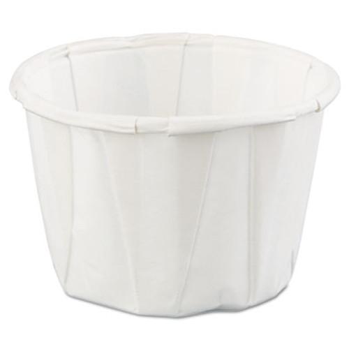 Genpak Squat Paper Portion Cup, 1oz, White, 250/Bag, 20 Bags/Carton (GNP F100)