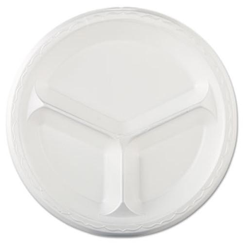 "Genpak Elite Laminated Foam Dinnerware, 3-Comp Plate, 10.25""Dia, White, 125/PK, 4 PK/CT (GNP LAM13)"