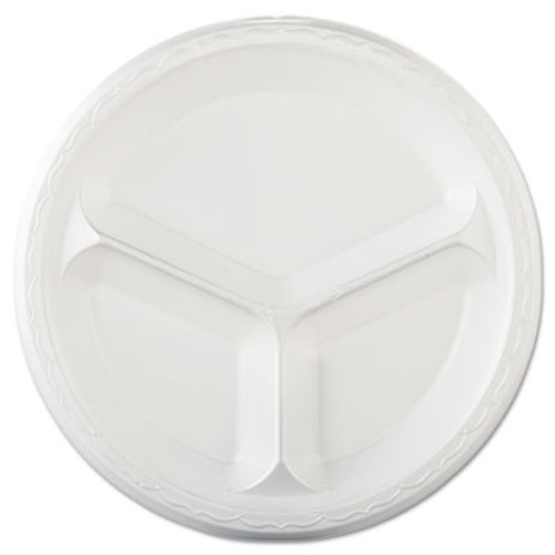 Genpak Elite Laminated Foam Dinnerware  3-Comp Plate  10 25 Dia  White  125 PK  4 PK CT (GNP LAM13)