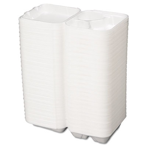 Genpak Snap It Foam Container  3-Comp  8 1 4 x 8 x 3  White  100 Bag  2 Bags Carton (GNP SN243)