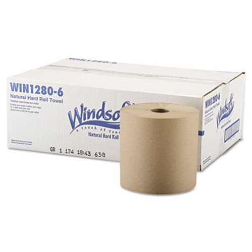 """Windsoft Nonperforated Roll Towels, 8"""" x 800ft, Brown, 6 Rolls/Carton (WIN 1280-6)"""