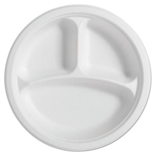 Chinet PaperPro Naturals Fiber Round Plates  3-Comp  10 1 4   Natural  125 PK  4 PK CT (HUH PAPRO3)