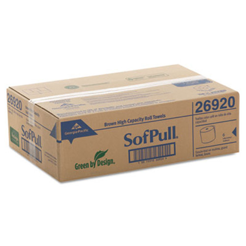 Georgia Pacific Professional Hardwound Roll Paper Towels  7 4 5 x 1000ft  Brown  6 Rolls Carton (GPC 269-20)