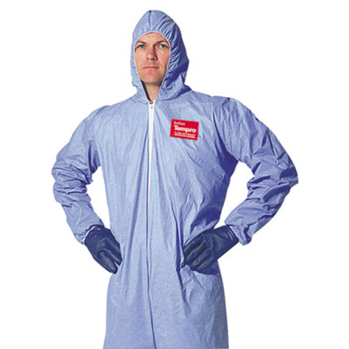 DuPont Tempro Elastic-Cuff Hooded Coveralls, Blue, X-Large, 25/Carton (DUP TM127S-XL)