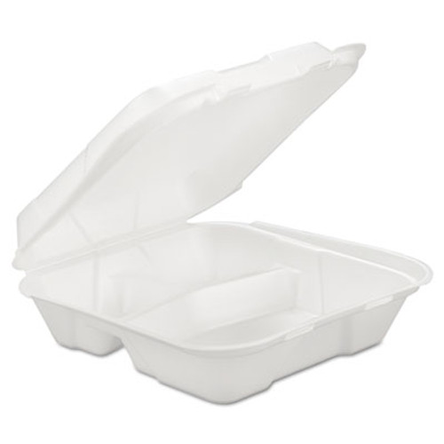 GEN Foam Hinged Carryout Container  3-Comp  White  9 1 4 X 9 1 4 X 3  200 Carton (GEN HINGEDL3)