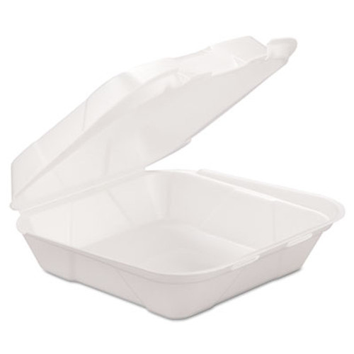 GEN Foam Hinged Carryout Container, 1-Comp, White, 8 X 8 1/4 X 3, 200/Carton (GEN HINGEDM1)