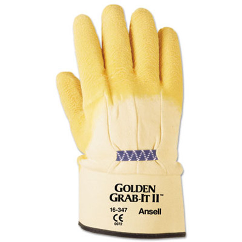 AnsellPro Golden Grab-It II Heavy-Duty Work Gloves  Size 10  Latex Jersey  Yellow  12 PR (ANS1634710)