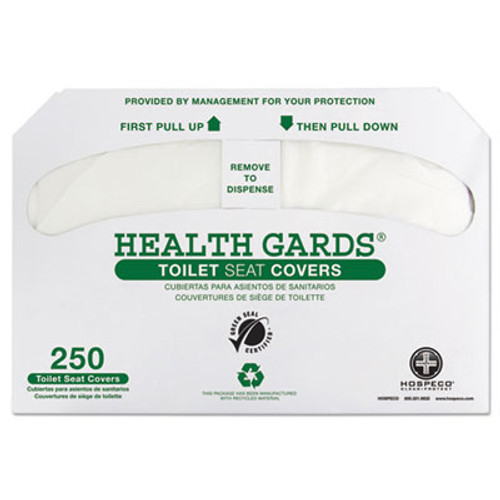 HOSPECO Health Gards Green Seal Recycled Toilet Seat Covers  White  250 PK  4 PK CT (HOS GREEN-1000)