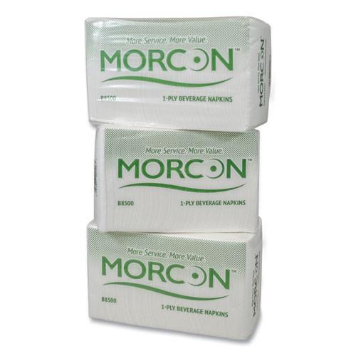 Morcon Tissue Morsoft Beverage Napkins  9 x 9 4  White  500 Pack  8 Packs Carton (MOR B8500)
