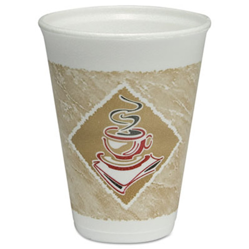 Dart Café G Hot/Cold Cups, Foam, 20oz, White w/Brown & Red, 20/Bag, 50 Bags/Carton (DCC 12X12G)