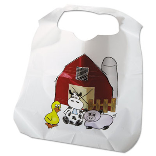 Atlantis Plastics Disposable Child-Size Poly Bibs  Zoo Farm Pattern  Children's  250 Carton (ATL2BBCZF)