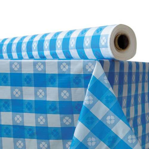 Atlantis Plastics Plastic Table Cover  40  x 300 ft Roll  Blue Gingham (ATL2TCB300GIN)