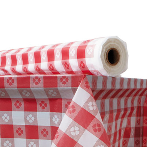 Atlantis Plastics Plastic Table Cover  40  x 300 ft Roll  Red Gingham (ATL2TCR300GIN)